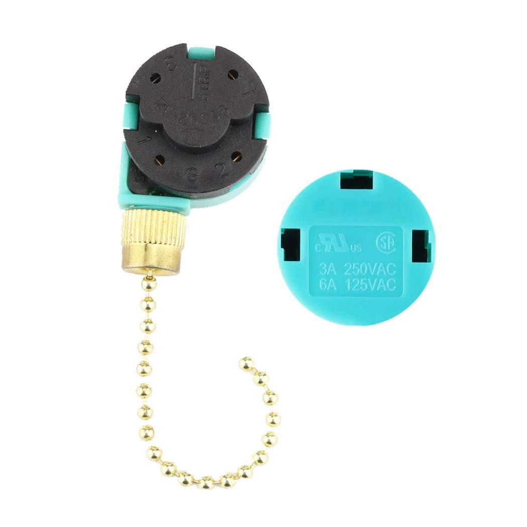 Ceiling Fan Pull Chain Switch Zing Ear ZE-268S6 Fan Switch 3 Speed 4 wire Fan Switch(Brass)