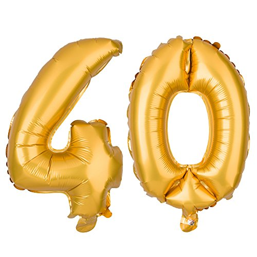 (Ella Celebration Non-Floating 40 Number Balloons for 40th Birthday Party Decorations Small 13 inch (Gold))