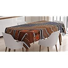 Art Tablecloth by Ambesonne, Aboriginal Style of Dot Painting Depicting River Native Australian Illustration, Dining Room Kitchen Rectangular Table Cover, 52W X 70L Inches, Brown Blue Orange
