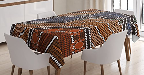 - Ambesonne Art Tablecloth by, Aboriginal Style of Dot Painting Depicting River Native Australian Illustration, Dining Room Kitchen Rectangular Table Cover, 52W X 70L Inches, Brown Blue Orange