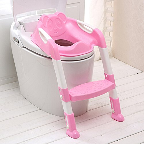 Genmine Potty Toilet Seat With Ladder for Kids Baby, Children's Toilet Seat Chair Step Trainer Ladder Toddlers Toilet Training Step Stool Cover With Handles Toilet Folding Chair for Boys Girls (Pink) -