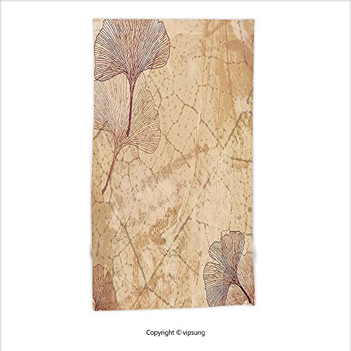 Vipsung Microfiber Ultra Soft Hand Towel-Beige Decor Small Large Ginkgo Leaves Pattern Dramatic Dated Fossil Maidenhair Tree Nature Art Print Decor Beige Brown For Hotel Spa Beach Pool (Maidenhair Shell)
