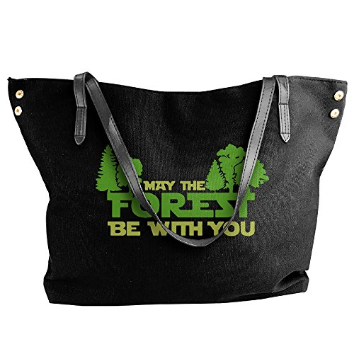 EJudge Forest Be With You Fashion Ladies Canvas Shoulder Black Travel Handbag