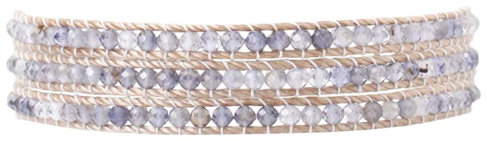 Chan Luu Leather Wrap Three Row Semi Precious Stones Bracelet (Iolite) by Chan Luu