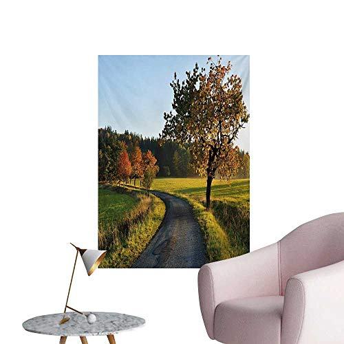 Anzhutwelve Landscape Photo Wall Paper Autumn Road at Sunset and Lone Tree Grass Field Forest Rural SceneryGreen Yellow Bluegrey W24 xL36 Poster Paper