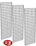 Only Garment Racks - Commercial Grade Gridwall Panels - Heavy Duty Grid Panel for Any Retail Display, 2' Width x 6' Height, 3 Gridwall Panels Per Carton (Black Finish)