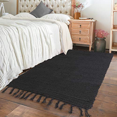 - Chindi Rag Rug Runner, Seavish Hand Woven Recycled Cotton Area Rug Braid Bedside Rug Boho Accent Rug Solid Black, 2'W x 4'4'''L