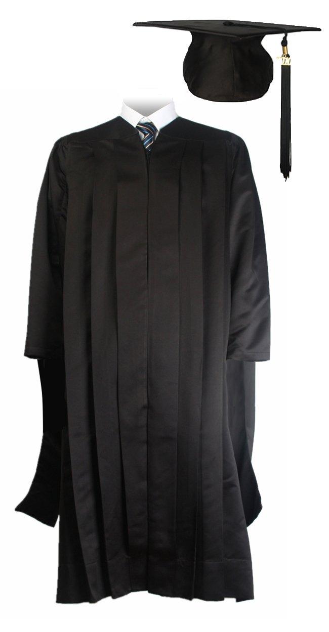 GraduationMall Unisex Deluxe Master Graduation Gown Cap Tassel Package Black X-Large 54(5'9''-5'11'')