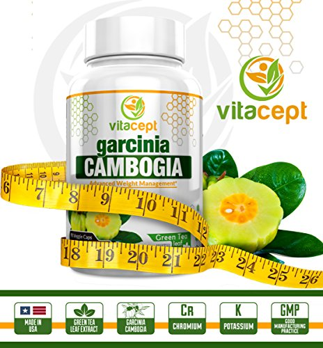 Green Tea 90 Caps - Pure Garcinia Cambogia Extract With Green Tea Leaf Extract - Premium All Natural Appetite Suppressant, Best Weight Loss Supplement, Block Fat Production, Boost Metabolism,90 Veggie caps