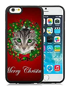 Provide Personalized Customized iPhone 6 Case,Christmas Cat Black iPhone 6 4.7 Inch TPU Case 47
