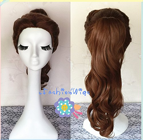 [Beauty and the Beast Belle Cosplay Wigs, 70CM Long Medium Brown Beautiful Lolita Wig UF013] (Belle Wigs)