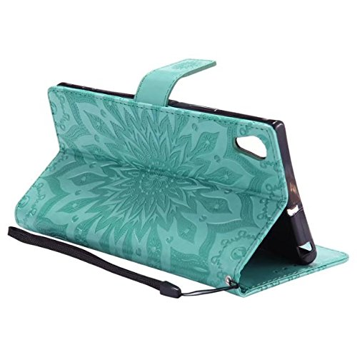 YHUISEN Diseño de la impresión de la flor del sol Caja de cuero de la PU del tirón de la carpeta del tirón del cordón con la ranura para tarjeta / el soporte para Sony Xperia XA1 Ultra (6.0 pulgadas)  Green