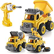 Take Apart Toys with Electric Drill   Converts to Remote Control Car   3 in one Construction Truck Take Apart