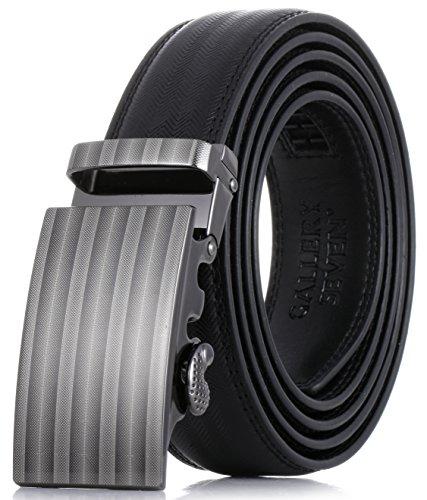 Gallery Seven Mens Leather Ratchet Belt - Adjustable Genuine Leather Dress Belt For Men - Casual Click Belt - In Gift Box - Black Style-4 - Large Up To Waist (Large Mens Belts)