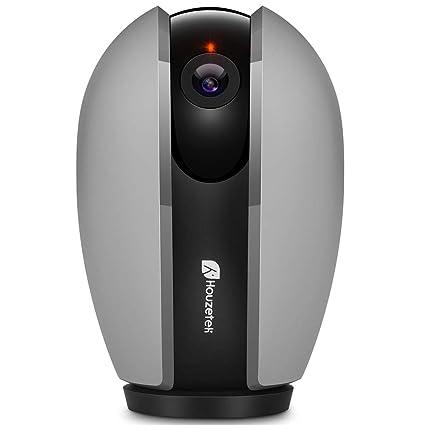 Cámara WiFi, Houzetek Cámara Vigilancia 1080P Infrarroja Nocturna 360 Degrados con Voz Bidireccional, Camara