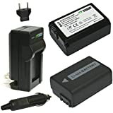 Wasabi Power Battery (2-Pack) and Charger for Sony NP-FW50 (Compatible with Alpha a7, a7 II, a7R, a7R II, a7S, a7S II, a5000, a5100, a6000, a6300, a6500, NEX-5T, Cyber-shot DSC-RX10 III and more)