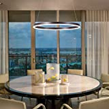 Cheap Harchee Modern LED Ring Chandelier Acrylic Round Shape Ceiling Light Fixture, Adjustable LED Circle Pendant Light with 1 Ring for Living Room, Dining Room, Warm White 3000K, Brown Finish, 23.6 inches