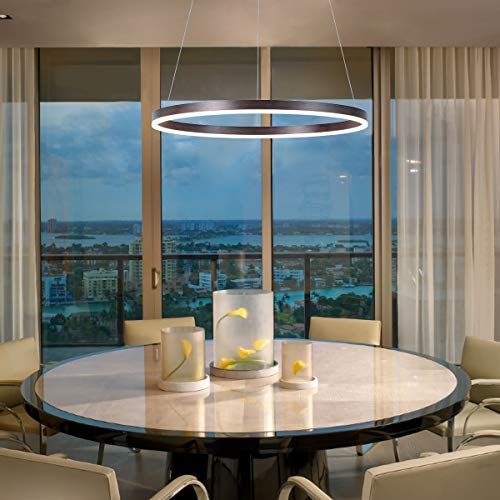 Harchee Modern LED Ring Chandelier Acrylic Round Shape Ceiling Light Fixture, Adjustable LED Circle Pendant Light with 1 Ring for Living Room, Dining Room, Warm White 3000K, Brown Finish, 23.6 inches