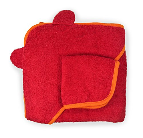 Cute New York Pure Cotton Baby Hooded Towel and Washcloth Set (red/orange)