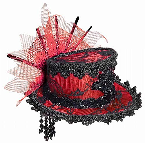 Forum Novelties Women's Costume Black Lace Mini Hat, Red/Black, One Size
