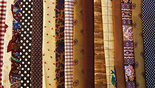 Tan Quilting Sewing Craft Fabric - FAT QUARTER ~ Set of 4 100 % COTTON ~ BROWN / TAN ~ Quilt Fabric ~ CRAFTS ~ SEWING