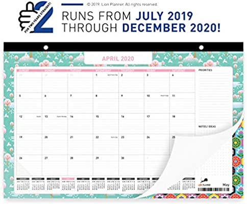 Amazon.com: Calendario de escritorio 2019-2020, planificador ...