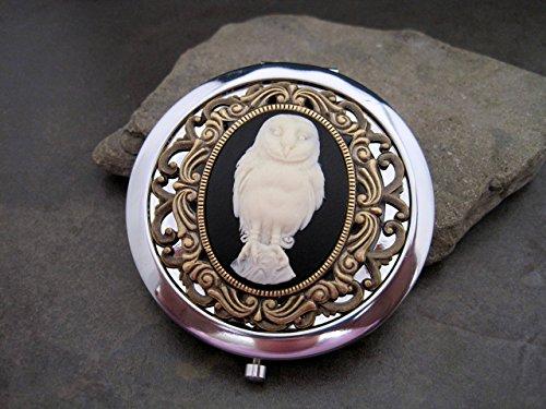 (Handmade Silver Barn Owl Cameo Compact Mirror)