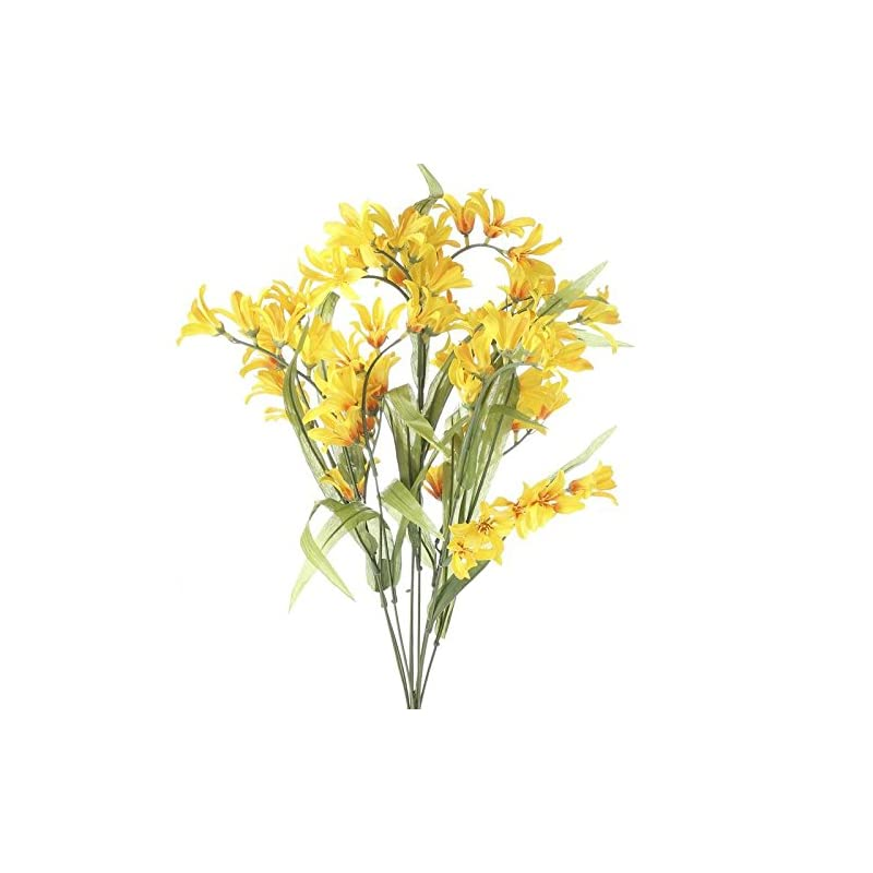 silk flower arrangements factory direct craft set of 2 bright yellow artificial freesia floral bushes for arranging, crafting and creating