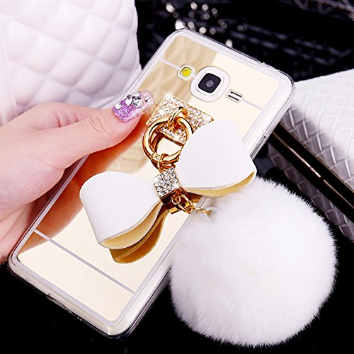 super popular de939 20dbb DStores for Samsung Galaxy J5 Prime Case,On5 2016 Cover,Luxury Slim Slider  Mirror PC Back Cover/TPU Bumper Case,White Fur Ball Ring Metal Buckle ...