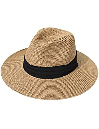MAIPOETYR Women Wide Brim Straw Panama Roll up Hat Fedora Beach Sun Hat (Brown)