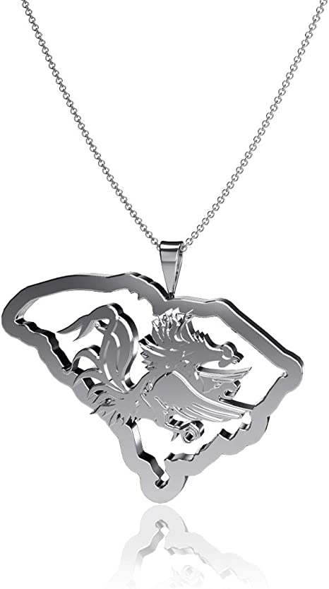 Sterling Silver Jewelry Small for Women//Girls Gamecock Logo Dayna Designs University of South Carolina Pendant Necklace