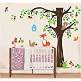 Nursery Forest Animals Birds Fox Squirrel Mushrooms Trees Wall Art Stickers Decal for Nursery Home Decor Boys and Girls Children Courtyard Baby Room