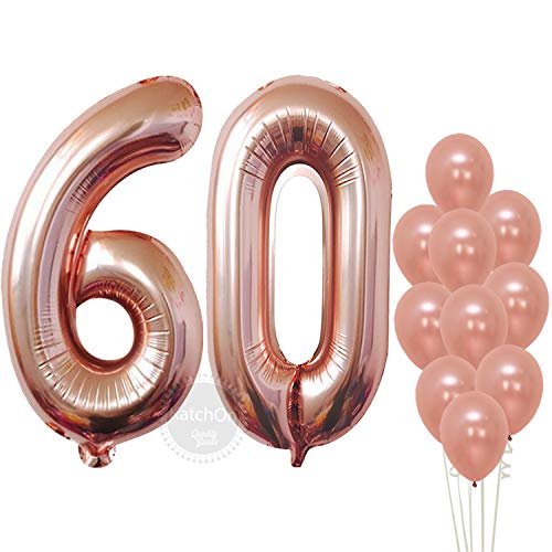 Rose Gold 60 Number Balloons - Large, 6 and 0 Mylar Rose Gold Balloons, 40 Inch | Extra Pack of 10 Latex Baloons, 12 Inch | Great 60th Birthday Party Decorations| 60 Year Old Rose Gold Party Supplies -