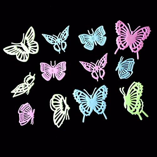 Bluelover 12Pcs Schmetterlinge Noctilucence Wand Sticker bunte Leuchtstoffröhren Zuhause Kind Raum Dekor Geschenk