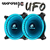 computer case blue light - Asiahorse Solar Eclipse UFO120mm Dual Aperture LED Long Life Case Fan,PC Custom Diy From Water Cooling System CPU Cooler 2PACK(ice blue)
