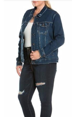 2ae9881d268 Cello Plus Size Dark Blue Girlfriend Denim Jacket at Amazon Women s ...