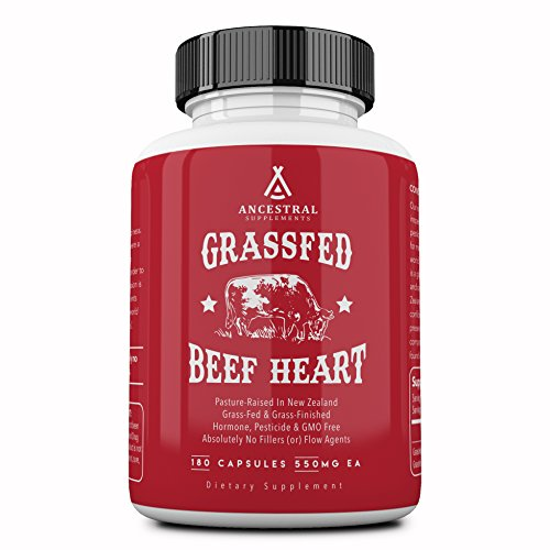 Ancestral Supplements Grass Fed Beef Heart (Desiccated) - Natural CoQ10, Supports Heart, Mitochondrial and Blood Pressure Health (180 Capsules)