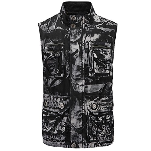 Waistcoat Day Stand Father's Outdoor Zhhlaixing Gift negro suave Size Vest Working Collar XXL Mountain for Mens M Camouflage aptgq