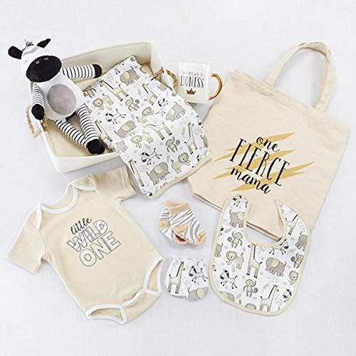 Baby Aspen Safari 9 Piece Baby Basket, Includes Safari Animal Themed Blanket, Bib, Onesie, Mitten, Socks, Stuffed Zebra, Mug, Tote, and Canvas Bin