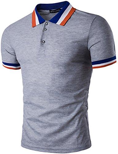 Whatlees Mens Boys Short Sleeve Contrast Stripes Collar Breathable Button Down Golf Office Polo Shirt B470-Grey-XXL