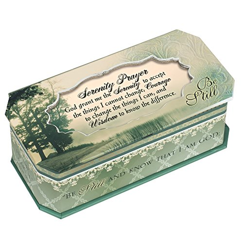 Serenity Prayer Be Still Petite Belle Papier Musical Keepsake Jewelry Box - Plays Song Amazing Grace (Belle Musical Jewelry Box)