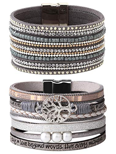 LOYALLOOK 2Pcs Boho Multilayer Leather Cuff Bracelet Tree Of Life Wrap Bangle Wrist Braided Magnetic Casual Bracelet Wife Girlfr