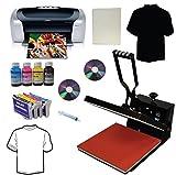 heat press and printer - 15x15 Heat Transfer Press Epson C88+ Printer Refillable Cartridges Ink Kit Bundle