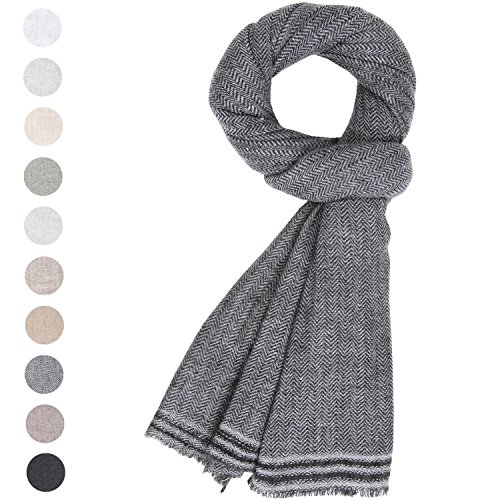 Linen Blend Scarf - Fashion Cashmere Scarf Unisex Women's Men Soft Wool Shawl Large Stole Pashmina Black White