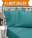 Size Difference Between King and California King Elegant Comfort Best, Softest, Coziest 6-Piece Sheet Sets! - 1500 Thread Count Egyptian Quality Luxurious Wrinkle Resistant 6-Piece Damask Stripe Bed Sheet Set, California King Turquoise