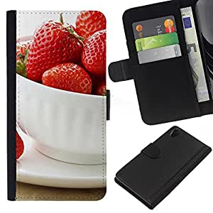 Ihec-Tech / Flip PU Cuero Cover Case para Sony Xperia Z2 D6502 D6503 D6543 L50t - Fruit Macro Strawberries Cup