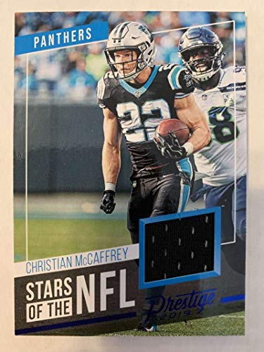2019 Prestige Stars of the NFL Xtra Points Blue Jersey MEM #19 Christian McCaffrey Carolina Panthers Official Panini Football Trading Card from 2017 Prestige Football