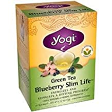 Green Tea Blueberry Slim Life, 16 bags by Yogi (Pack of 4)