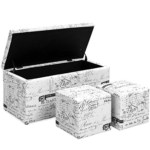 Home Cube Folding Storage Ottoman Bench Set Footrest Seat Scribe Printed (White) by Happybeamy
