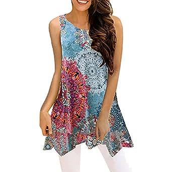 Sunbona (TM) Women's Sleeveless T-Shirt Ladies Summer Irregular Printing Vest Blouse Loose Tank Top Tunic (S, Blue)
